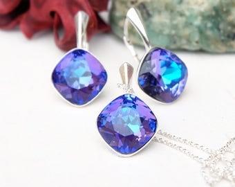 Purple blue Swarovski square crystal earrings necklace set Sterling Silver heliotrope bridesmaids wedding jewellery Cushion cut crystal