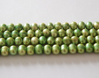 8mm Cultured FW Light Green Potato Pearls. Dyed