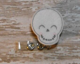 Smiling Skull felt badge reel, name badge holder, nurse badge, ID holder, badge reel, retractable badge clip, feltie badge reel