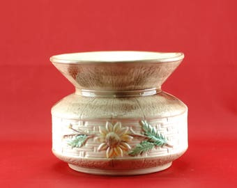 Majolica Cuspidor With Basket Weave Pattern And Floral Decoration ( AS IS )