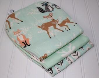 Woodland baby burp cloths, Hello Bear Baby Burp Rags, Deer Buck Burp Cloth, Southwestern, Hello Bear, Tomahawk, Boho, Buck, Set of 3