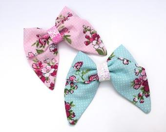 SALE Set Girls Sailor Bows, Fabric Bows, Floral Bows, Spring Bows, Hair Bow Set, Pink Bows, Blue Bow, Classic Bows
