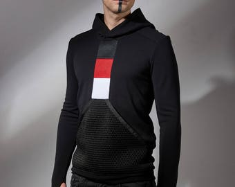 Black mens hoodie with mesh pocket, futuristic sweater, cyberpunk clothing