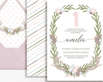 Woodland 1st Birthday Invitation Girls Wreath Antlers Rustic Boho Pink Peach Blue Pinecone Invite Printable Girl 1st 2nd 3rd 4th 5th 6th 7th