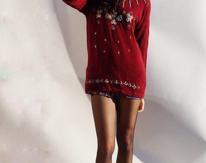 Oversized Vintage Jumper, Vintage 80s Oversized Burgundy Beaded Jumper, Jumper Dress, Beaded Sweater, 80s Burgundy Sweater, Long Sweater
