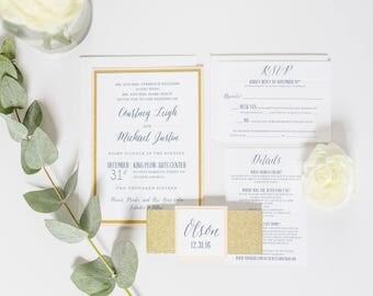 Gold Glitter Blush Glam Wedding Invitation SAMPLE