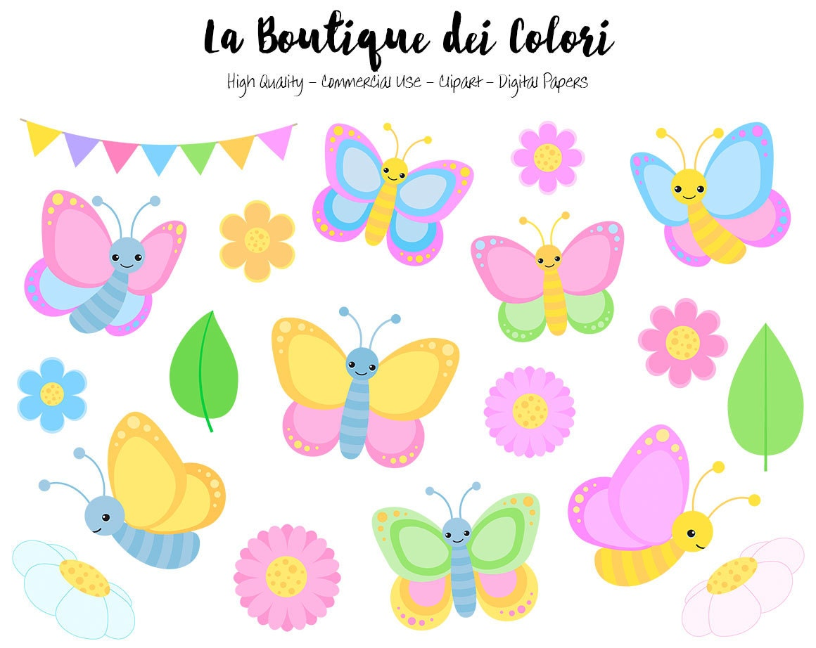 Pastel Butterfly Clipart Cute Graphics Png Spring Bugs