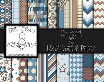 30% OFF~Oh Boy, Digital Scrapbook Paper, 12x12, Scrapbooking, Card making, Digital Paper, High Quality, Boys, Blue, Brown, Instant Download