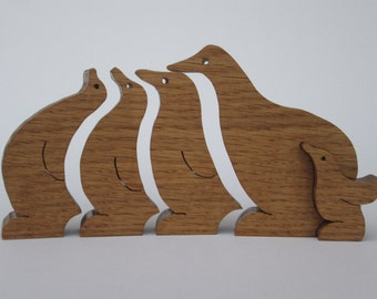 Penguins - scroll saw cut - set of five - oak - beautiful gift