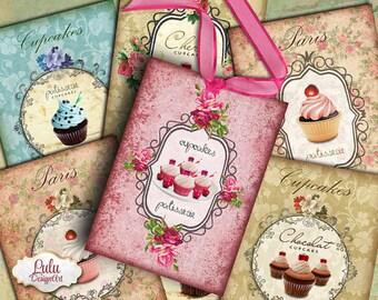 Cupcake Digital collage sheet, printable cards, cupcakes, watercolor cupcakes, printable tags, gift tags, planner stickers, digital download