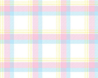 BUNNY HOP - Soft Plaid in White / Pastel - Cotton Quilt Fabric - by Greta Lynn for Kanvas Studios at Benartex Fabrics - 8079-09 (W3774)