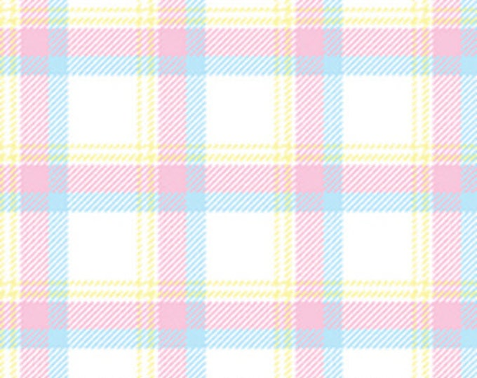 BUNNY HOP - Soft Plaid in White / Pastel - Cotton Quilt Fabric - by Greta Lynn for Kanvas Studios at Benartex Fabrics - 8079-09 (W3774)