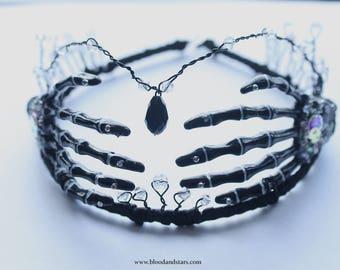 Gothic Black Skeleton Bone Hand Tiara