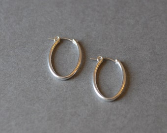 Silver Oval Hoop Earrings - Sterling Silver