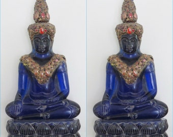 Antique Blue Sapphire 19th - 20th Century Carved Phra Hin Buddha Statue 12,000grams
