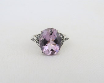 Vintage Sterling Silver Amethyst & White Topaz Engagement Ring Size 6