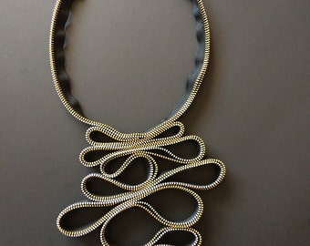 Red and black zipper statement necklace, original design