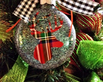 Deer Christmas Ornament - Deer Silhouette -Gift Idea For Him- Rustic Christmas-Deer Antler Decor-Glitter Ornament-Peronalized Ornament