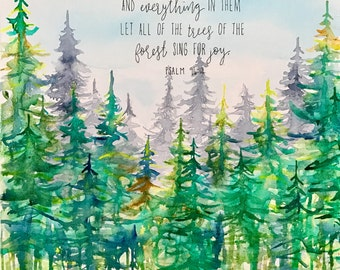 Pine Forest  Watercolor