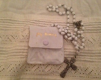 Vintage Communion Rosary With Case