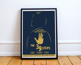 The 39 steps, Alfred Hitchcock, Fine Art Print, giclée poster for a classic movie