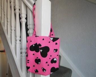 SALE - Cotton tote bag, small handbag, birthday gift, lunch tote, shopping bag, book bag, girls tote bag, pink gifts, hand bags