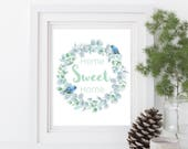 Instant download, Home sweet home, beautiful watercolour wreath and birds, wall art, decor, digital printable, cactus succulent art, floral