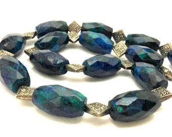 Chrysocolla Excellent Vintage Necklace 143.46 Gr Huge Blue Green Faceted Beads Artisan Work Long