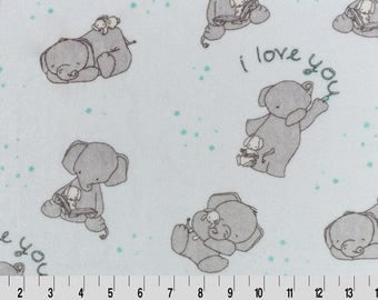 Love You Minky Fabric - Aruba - Sweet Melody Designs - Minky Cuddle - Shannon Fabrics - Elephant - Gender Neutral - Soft Baby Fabric