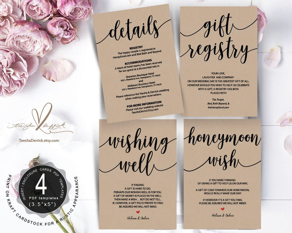 Wedding Registry Card Examples: Wedding Insert Cards PDF Template Instant Download Gift