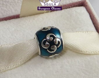 925  Sterling Silver Charm European bead Zen turquoise fit Pandora Charm Bracelet and to all European Bracelets