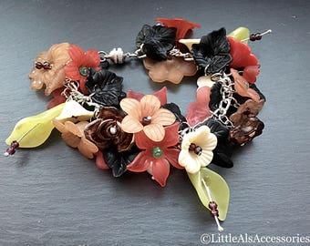 Chunky Flower Bracelet, Flower Charm Bracelet, Colorful Bracelet, Floral Bracelet, Serpentine Flower Bracelet, Autumn Jewelry, Flower Gifts