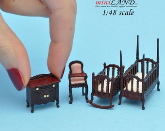 "1:48 1/4"" quarter scale Victorian baby nursery room set 4pcs Top quality dollhouse miniature MH"