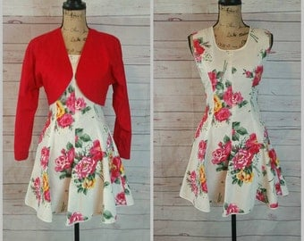 Red Bolero Jacket with matching Flowered Dancing Dress with Flared Hem Size XS Small Vintage 1980s//1980s Women