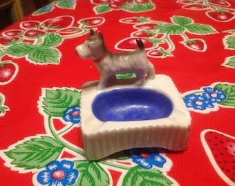 Vintage hand painted ceramic Scotty dog ashtray- Japan