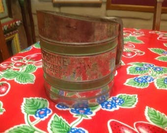 Vintage Sift-Chine flour sifter with green stripes- 1940s- Floey, USA