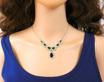 Emerald & Sterling Silver Jewelry Set Clear Crystal Rhinestone Necklace Long Earrings Size 7 Ring Green Bridal Wedding Gemstone Jewelry