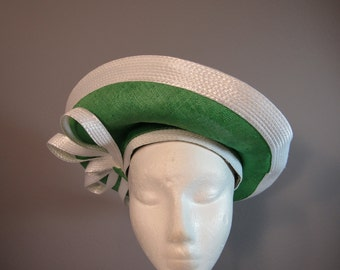 Jack McConnell Boutique green and white straw hat