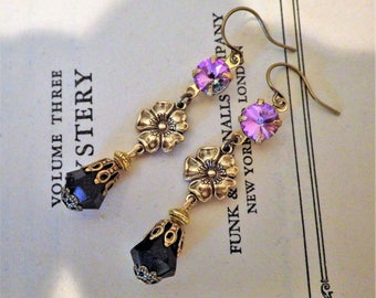 Art Nouveau ~ Black and Purple Earrings ~ Vintage Glass ~ Vintage Style ~ Victorian ~ by LadyofTheLakeJewels