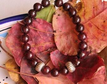 Dark red stone bracelet GARNET stretchy bracelet Silver 925 semi precious stone