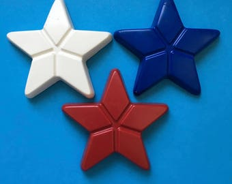 10 Sets of 3 - Red White & Blue Star Crayons  Party Favors TeacherSupply - Fourth of July - USA - Flag Day - Patriotic