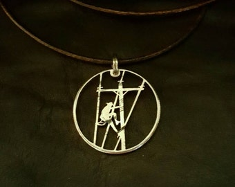 Lineman Utility Worker pendant cut from a Kennedy half dollar coin jewelry