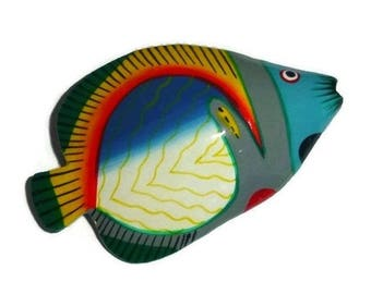 Huge Vintage FISH Brooch 80s Colorful TROPICAL Fish Fashion Broach Nautical Wood Pin Animal SeaLife Ocean Marine Sea BEACH Jewelry Gift Her
