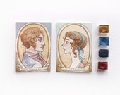 "Pride and Prejudice - Jane Austen - Aceo ""Mr Darcy and Miss Bennet"" - Watercolors and coffe - 2 OOAK original artwork"