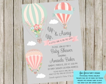 Up up and away Baby Shower - Hot Air Balloon invitation set