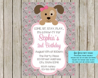 Puppy party invitation and thank you note set