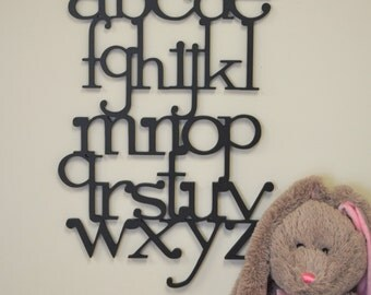 Alphabet Letters Set - Wooden Wall Letters for Nursery- Kids Room Decor -  Wooden letters connected - Full set ABC Sign