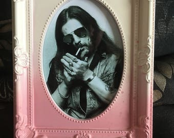 Lemmy black and white print in ombre frame 6x4""