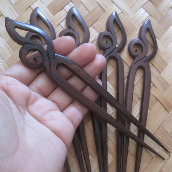 Wood hair stick carving pin wooden fork