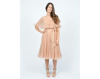 70s Blush Pink Miss Elliette Pleated Chiffon Dress, Sheer Accordion Pleat Midi Dress, Cape Flutter Sleeve Gown Small